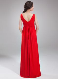 Empire V-neck Floor-Length Chiffon Maternity Bridesmaid Dress With Ruffle