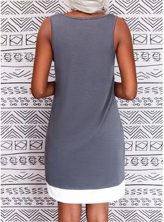 Impresión Carta Vestidos sueltos Sin mangas Midi Casual Franelilla Vestidos de moda