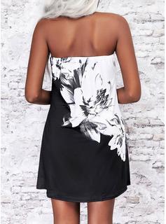 Trozos de color Floral Impresión Vestidos sueltos Sin mangas Mini Casual Vacaciones Vestidos de moda