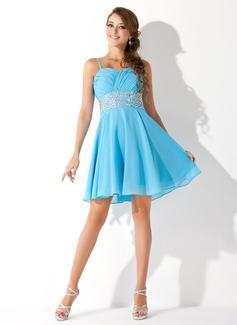 Princesový Srdcový výstřih Krátké/Mini Chiffon Šaty na třídní srazy S Volán Zdobení korálky
