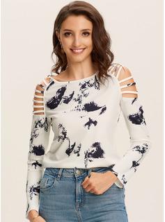 Print Lange ærmer Polyester rund hals T-shirt Bluser