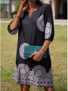 印刷 シフトドレス 3/4袖 ミディ カジュアル チュニック ファッションドレス