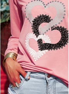 Print Heart V-Neck Long Sleeves Casual T-shirt