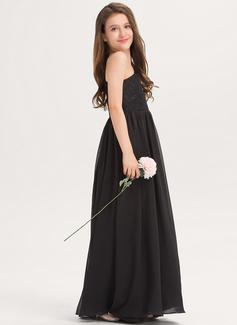 Áčkové Šaty One-Shoulder Délka na zem Šifón Krajka Šaty pro mladé družičky