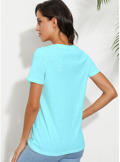 Print V-Neck Short Sleeves Casual T-shirt