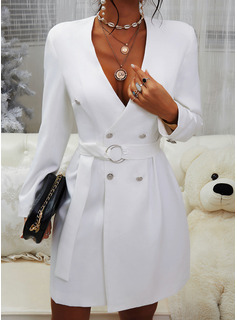 Solid Bodycon Long Sleeves Mini Casual Elegant Dresses