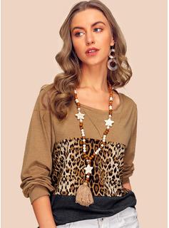 Farbblock Leopard Lange Ärmel Polyester Eine Schulter T-shirt Blusen
