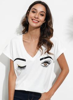 Impresión Manga corta poliéster Escote en V camiseta Blusas