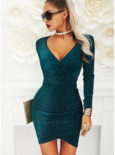 Solid Bodycon Long Sleeves Mini Party Dresses