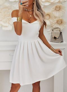 Solid A-line Cold Shoulder Sleeve Short Sleeves Midi Party Elegant Skater Dresses