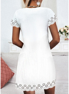 Sólido Vestidos sueltos Manga Corta Mini Casual Vestidos de moda