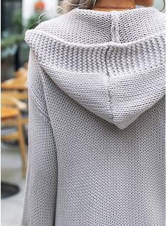 Hooded Fritids Solid Klumpig stickning Tröjor