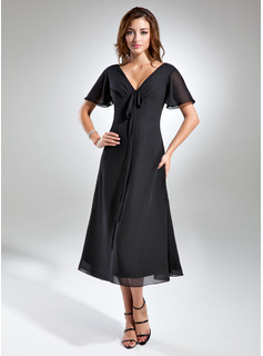 A-Line V-neck Tea-Length Chiffon Mother of the Bride Dress With Ruffle Bow(s)