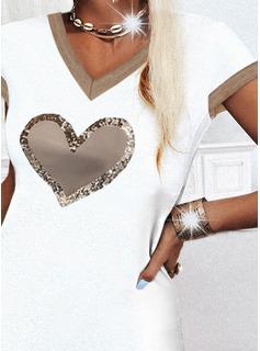 Impresión Corazón Vestidos sueltos Manga Corta Mini Casual camiseta Vestidos de moda