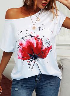 Blommig Korta ärmar Fritids t-shirt Modeklänningar
