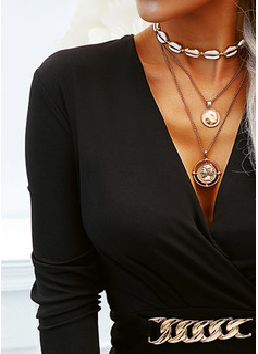 Solid Åtsittande Långa ärmar Mini Den lilla svarta Elegant Modeklänningar