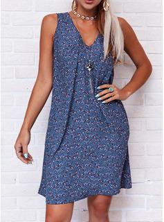 印刷 シフトドレス ノースリーブ ミディ 生きます カジュアル 休暇 タンク ファッションドレス