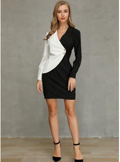 Color Block Sheath Long Sleeves Mini Elegant Dresses