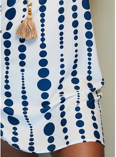 Print Skiftekjoler Korte ærmer Midi Casual Ferie Tunika Mode kjoler