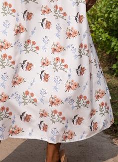Blommig Print A-linjeklänning 1/2 ärmar Batwing ärmar Maxi Fritids Semester skater Modeklänningar