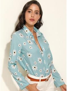Print Floral Long Sleeves Polyester Lapel Shirt Blouses Blouses