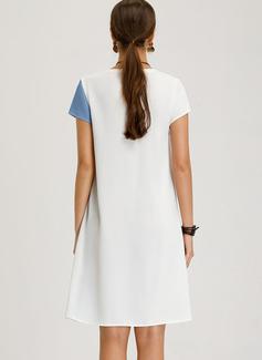 Couleurs Opposées Coupe droite Manches Courtes Midi Décontractée T-shirt Robes tendance