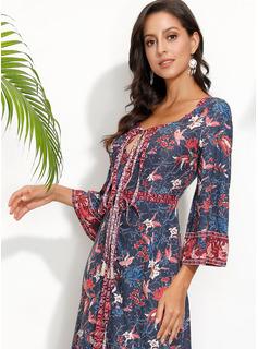 Blomster Print Kjole med A-linje 3/4 ærmer Maxi Casual Ferie Mode kjoler