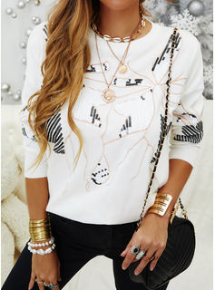 Sequins Round Neck Long Sleeves Casual T-shirt