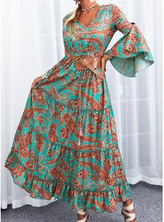 Print Kjole med A-linje Flare-ærmer Lange ærmer Maxi Boho Casual Ferie skater Mode kjoler