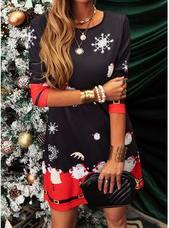 Print Shiftklänningar Långa ärmar Midi Fritids Jul Tunika Modeklänningar
