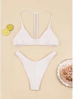Bikinis Del spandex Color sólido Cintura Baja De mujer No Ropa de baño