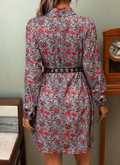 Blomster Print Kjole med A-linje Lange ærmer Mini Casual skater Mode kjoler