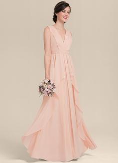 A-Line/Princess V-neck Floor-Length Chiffon Bridesmaid Dress With Cascading Ruffles