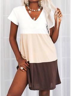 Color Block Shift Short Sleeves Mini Casual T-shirt Dresses