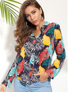 Print Lange ærmer Polyester Lapel Shirt Skjorter Bluser