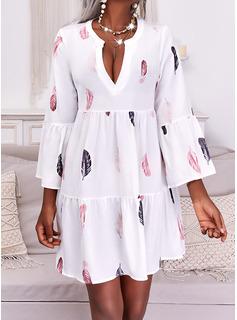 印刷 シフトドレス 長袖 ミディ カジュアル チュニック ファッションドレス