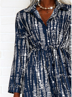 Print A-line Long Sleeves Maxi Casual Vacation Skater Dresses