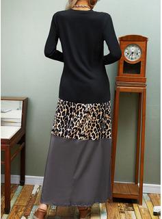 Leopard Color Block Print Shiftklänningar Långa ärmar Maxi Fritids Modeklänningar