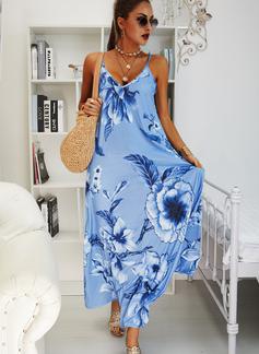 Blumen Druck Etuikleider Ärmellos Maxi Boho Lässige Kleidung Urlaub Typ Modekleider