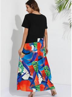 Maksimum rund hals Polyester/Bomuldsblanding Print Korte ærmer Mode kjoler
