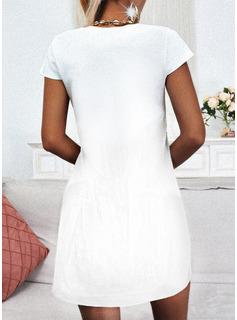 Impresión Vestidos sueltos Manga Corta Mini Casual camiseta Vestidos de moda