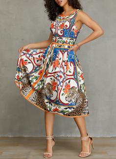 Print A-line Sleeveless Midi Casual Elegant Skater Dresses