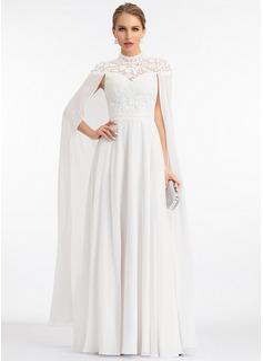 A-Line High Neck Floor-Length Chiffon Wedding Dress