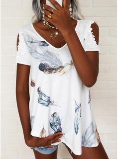Print Kolde skulder Korte ærmer Elegant Skjorter