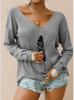 Print Long Sleeves Polyester V Neck Knit Blouses