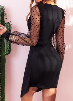Solido Aderente Manica a lanterna Maniche lunghe Mini Piccolo nero Partito Elegante Vestiti di moda