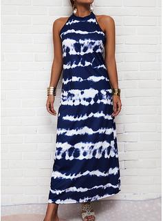 Tie Dye Print Shift Sleeveless Maxi Casual Dresses