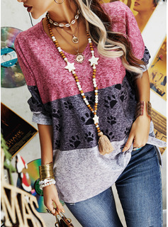 Animal Print Color Block V-Neck Long Sleeves Casual Blouses