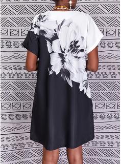 Trozos de color Floral Impresión Vestidos sueltos Manga Corta Midi Vacaciones camiseta Vestidos de moda