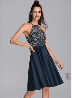 A-Line Scoop Neck Knee-Length Satin Homecoming Dress With Beading Sequins Pockets